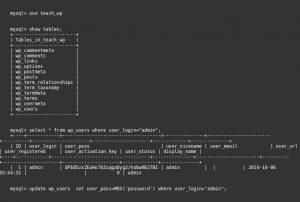 Reset WordPress admin password from MySQL database