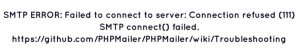 SMTP connect() failed error in WordPress