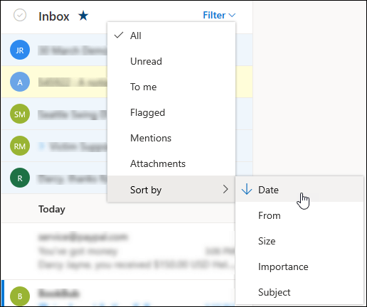 not receiving mails in outlook.com account