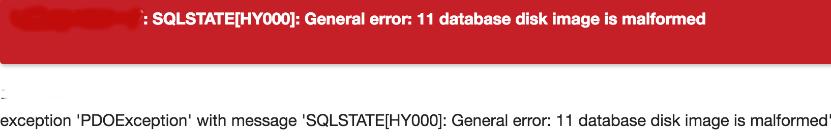 SQLSTATE[HY000]: General error: 11 database disk image is