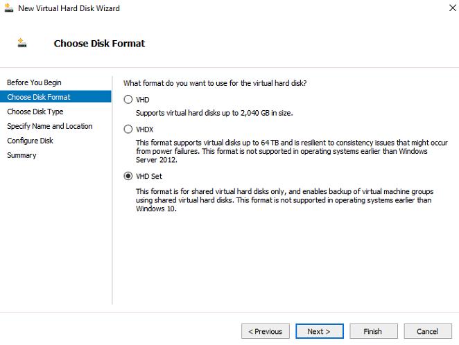 VHD set: shared virtual disks on hyper-v 2016