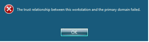 the trust relationship between this workstation and the primary domain failed