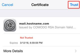 Cannot Verify Server Identity - iPhone - Trust certificate
