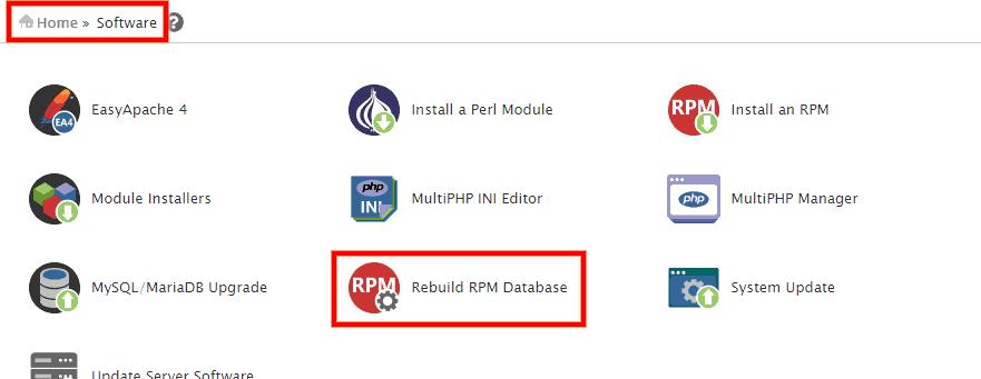 cPanel Error: rpmdb open failed