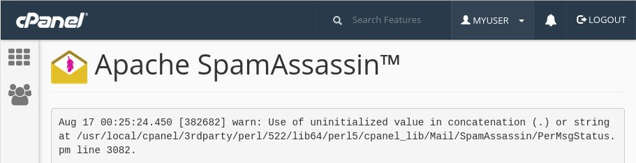 Use of uninitialized value $x in concatenation (.) or string - cPanel WHM error 11.58