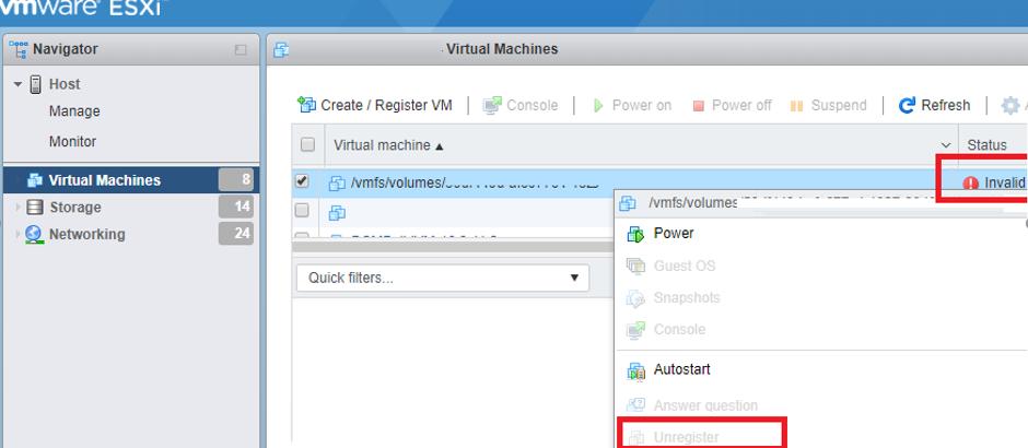 Invalid State of a Virtual Machine on VMWare ESXi