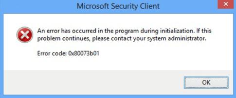 windows defender or security essentials error 0x80073b01