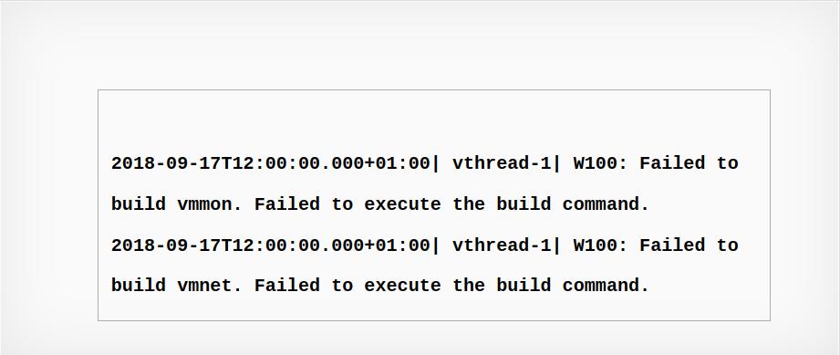 vmware error Failed to build vmmon