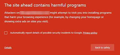 This site ahead contains harmful programs