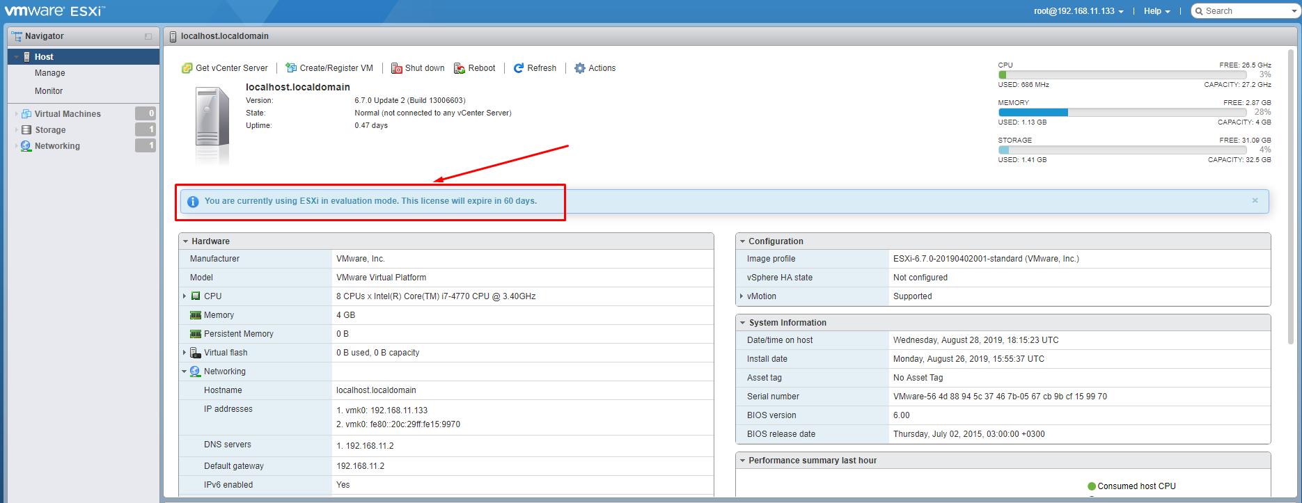 ESXi Web Client Interface